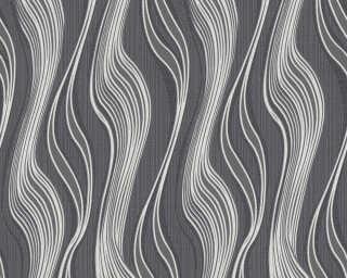 A.S. Création papier peint «Rayures, argent, gris, métallique, noir» 371416