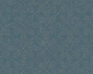 A.S. Création papier peint «Graphique, Floral, bleu, métallique, or» 371762
