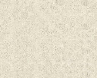 A.S. Création papier peint «Graphique, Floral, crème, métallique, or» 371766