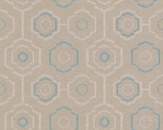 A.S. Création Wallpaper «Graphics, Floral, Beige, Blue, Cream, Taupe» 371771