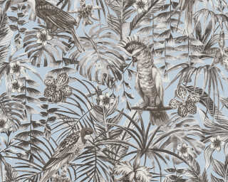 A.S. Création Wallpaper «Jungle, Black, Blue, Grey, White» 372103