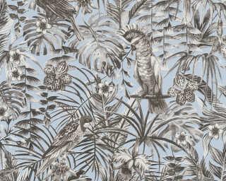 A.S. Création papier peint «Jungle, blanc, bleu, gris, noir» 372103