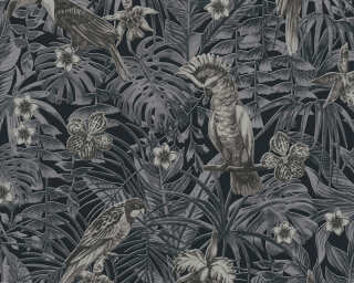 A.S. Création Wallpaper «Jungle, Black, Cream, Grey» 372104