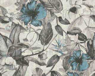 A.S. Création Wallpaper «Flowers, Black, Blue, Grey, Taupe» 372162