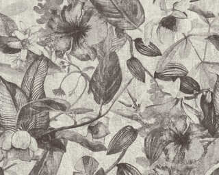 A.S. Création Wallpaper «Flowers, Black, Grey, White» 372163