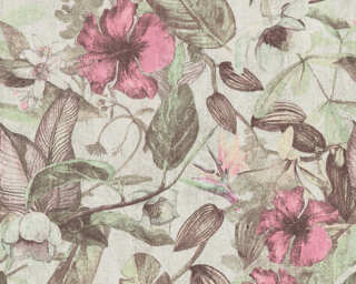 A.S. Création Wallpaper «Flowers, Brown, Cream, Green, Grey» 372164
