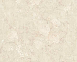 A.S. Création Wallpaper «Flowers, Beige, Cream, Grey, Silver» 372244