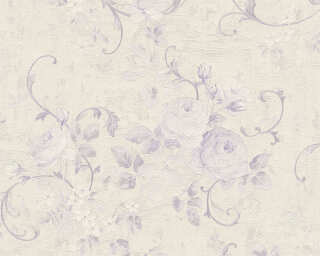 A.S. Création Wallpaper «Flowers, Cream, Metallic, Purple, Silver» 372245