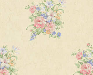 A.S. Création Wallpaper «Flowers, Blue, Cream, Green, Pink» 372251