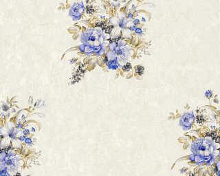 A.S. Création papier peint «Fleurs, bleu, crème, marron» 372252