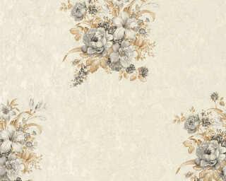 A.S. Création papier peint «Fleurs, crème, gris, marron» 372253