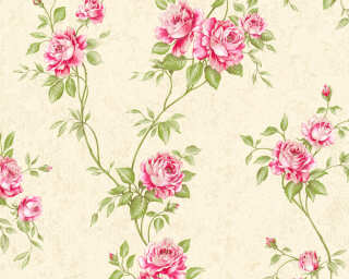 A.S. Création Wallpaper «Flowers, Cream, Green, Red» 372261
