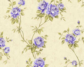 A.S. Création Wallpaper «Flowers, Cream, Green, Purple» 372265
