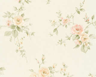 A.S. Création Wallpaper «Flowers, Cream, Green, Orange, Pink» 372307