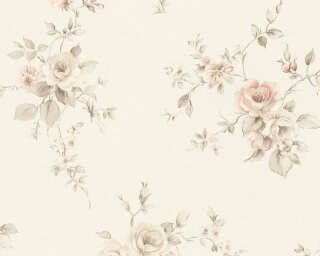 A.S. Création Wallpaper «Flowers, Cream, Grey, Red» 372314