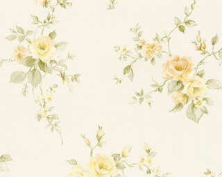 A.S. Création Wallpaper «Flowers, Cream, Green, Orange, Yellow» 372321