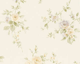 A.S. Création Wallpaper «Flowers, Cream, Green, Orange, Purple» 372345