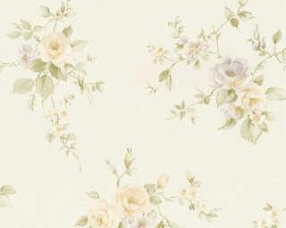 A.S. Création papier peint «Fleurs, crème, orange, vert, violet» 372345