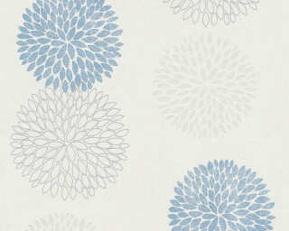 A.S. Création Wallpaper «Floral, Blue, Grey, White» 372642