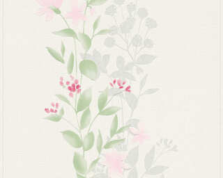 A.S. Création Wallpaper «Flowers, Green, Grey, Pink, White» 372661