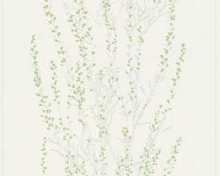A.S. Création Wallpaper «Floral, Green, Grey, Metallic, Silver» 372672