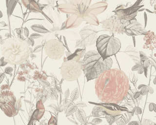 A.S. Création Wallpaper «Cottage, Flowers, Grey, Pink» 372762