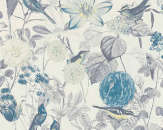 A.S. Création Wallpaper «Cottage, Flowers, Blue, Grey, Yellow» 372763