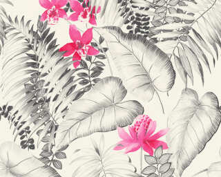 A.S. Création Wallpaper «Cottage, Flowers, Black, Grey, Pink, Red» 372791