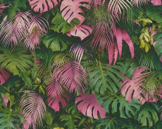 A.S. Création papier peint «Jungle, rose, vert» 372801
