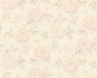 A.S. Création Wallpaper «Floral, Cream, Green, Purple, Yellow» 373384