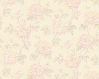 A.S. Création papier peint «Floral, crème, jaune, vert, violet» 373384