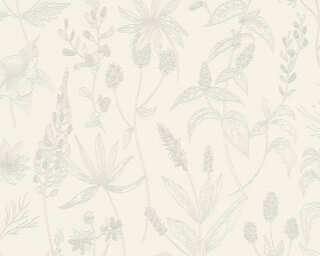 A.S. Création Wallpaper «Cottage, Floral, Beige, Metallic, White» 373631