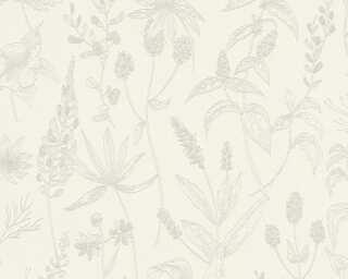 A.S. Création papier peint «Maison, Floral, beige, blanc, métallique» 373631