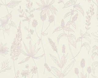 A.S. Création Wallpaper «Cottage, Floral, Metallic, Pink, White» 373632