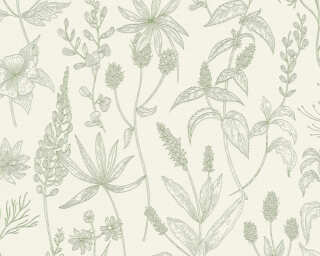 A.S. Création Wallpaper «Cottage, Floral, Green, Metallic, White» 373635