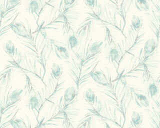A.S. Création Wallpaper «Floral, Blue, Cream, Grey, Metallic» 373671