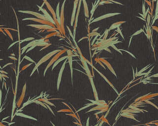A.S. Création Wallpaper «Floral, Black, Green, Orange» 373763