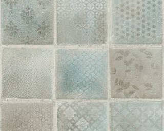 A.S. Création Wallpaper «Tile, Blue, Cream, Green, Grey» 373881
