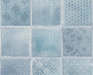 A.S. Création Wallpaper «Tile, Blue, Cream, Grey, Turquoise» 373882