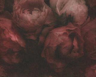 Livingwalls Tapete «Blumen, Rot, Schwarz» 373924