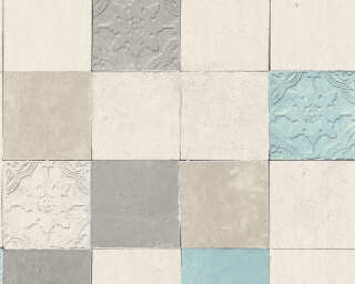 Livingwalls Wallpaper «Tile, Blue, Cream, Grey, Turquoise» 374061