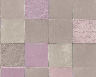 Livingwalls Wallpaper «Tile, Beige, Grey, Purple, Taupe» 374062