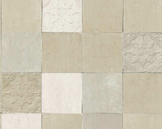 Livingwalls Wallpaper «Tile, Cream, Grey» 374064