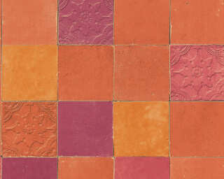 Livingwalls papier peint «Tuile, orange, rouge» 374065