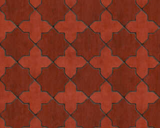 Livingwalls Wallpaper «Tile, Black, Grey, Red» 374211