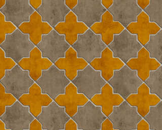 Livingwalls Wallpaper «Tile, Beige, Cream, Yellow» 374212