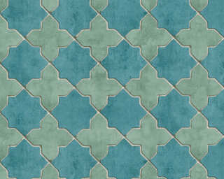Livingwalls Wallpaper «Tile, Beige, Blue, Cream, Green» 374214