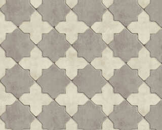 Livingwalls Wallpaper «Tile, Cream, Grey» 374215