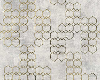 Livingwalls Wallpaper «Graphics, Gold, Grey, Metallic, Silver» 374244
