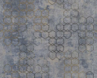 Livingwalls Wallpaper «Graphics, Blue, Gold, Grey, Metallic» 374245